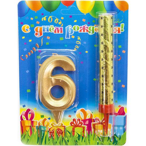 Набор Фонтан и Свеча Цифра 6 Грани Золото 10 см