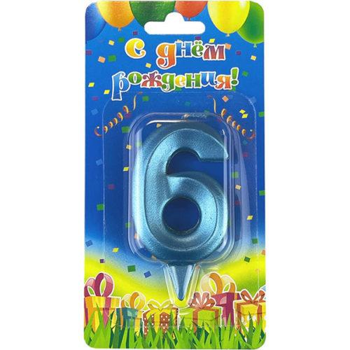 Свеча Цифра 6 Грани Синяя бирюза 7 см