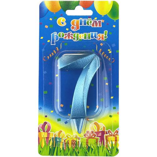 Свеча Цифра 7 Грани Синяя бирюза 7 см
