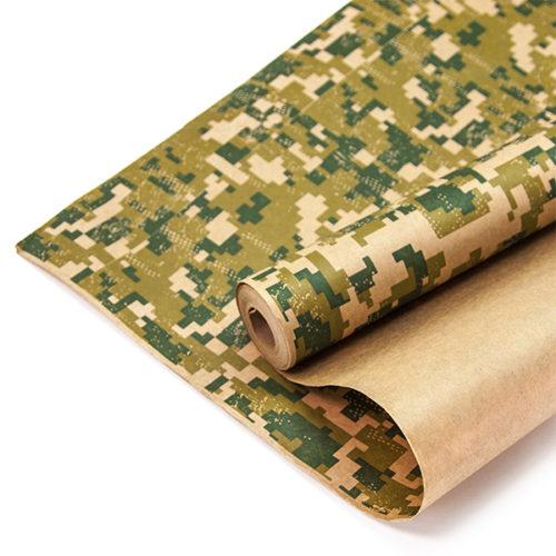 Упаковочная бумага Крафт 0,7 х 10 м Камуфляж Пиксели Хаки
