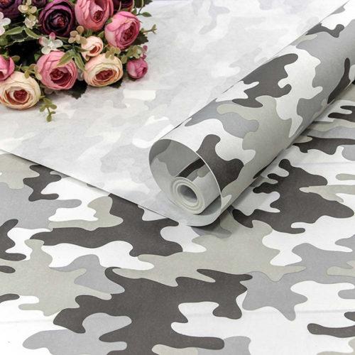 Упаковочная бумага Крафт 0,7 х 10 м Камуфляж Серый