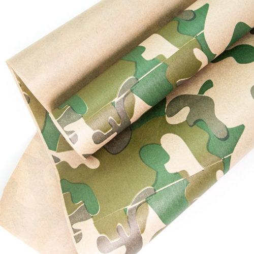 Упаковочная бумага Крафт 0,7 х 10 м Камуфляж Хаки