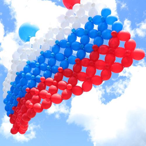 Флаг Триколор из воздушных шаров для запуска