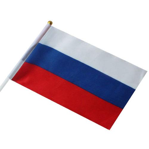 Флажок на палочке России 20 х 30 см 10 штук