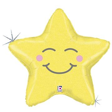 Шар 66 см Фигура Звезда счастливая блеск