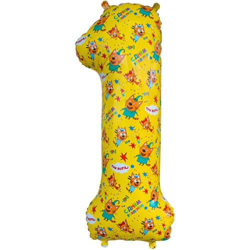 Шар 86 см Цифра 1 Три Кота Желтый