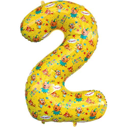 Шар 86 см Цифра 2 Три Кота Желтый