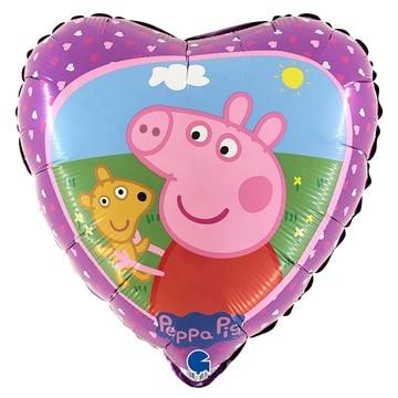 Шар 46 см Сердце Свинка Пеппа с мишкой