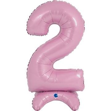 Шар 64 см Цифра 2 Розовый с воздухом на подставке