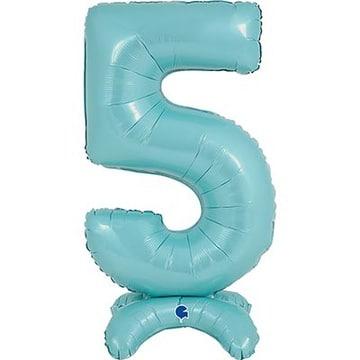 Шар 64 см Цифра 5 Голубой с воздухом на подставке