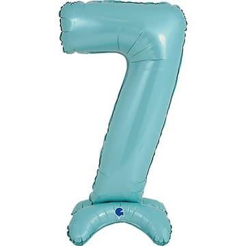 Шар 64 см Цифра 7 Голубой на подставке с воздухом