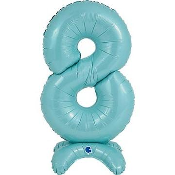Шар 64 см Цифра 8 Голубой с воздухом на подставке