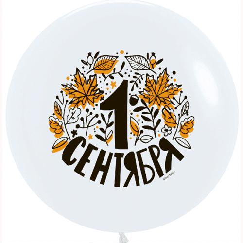 Шар 76 см 1 Сентября Осенние листья Белый пастель