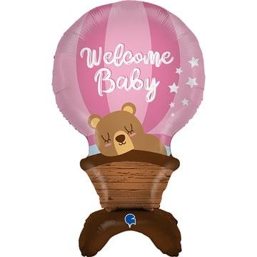 Шар 96 см Фигура с воздухом Мишка на воздушном шаре розовый