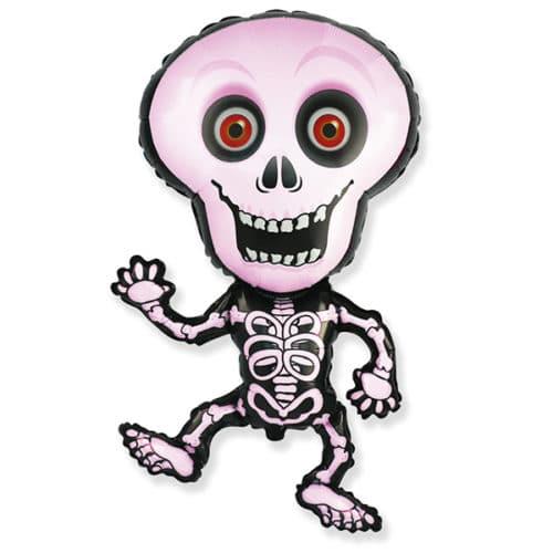 Шар 102 см Фигура Танцующий скелет Розовый