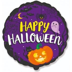 Шар 46 см Круг Веселый Хэллоуин котенок и тыква Фиолетовый