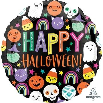 Шар 46 см Круг Хеллоуин Счастливые Лица