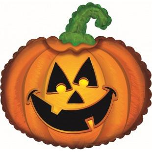 Шар 56 см Фигура Веселая тыква на Хэллоуин Оранжевый