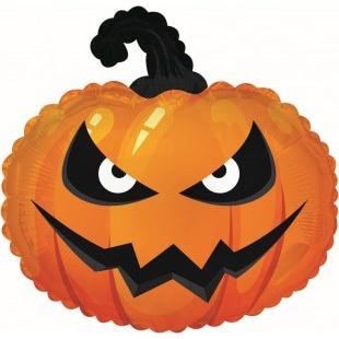 Шар 56 см Фигура Страшная тыква на Хэллоуин Оранжевый