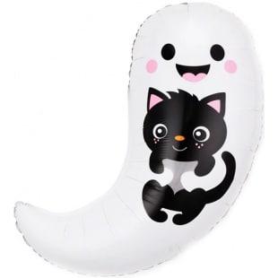 Шар 76 см Фигура Привидение с котенком