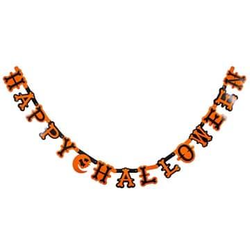 Гирлянда буквы 1,6 м HAPPY HALLOWEEN оранжевый черный