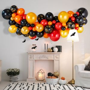 Гирлянда из разных шаров Хеллоуин Черный Красный Золото 2 метра