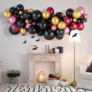 Гирлянда из разных шаров Хеллоуин бордо и золото хром 2 метра