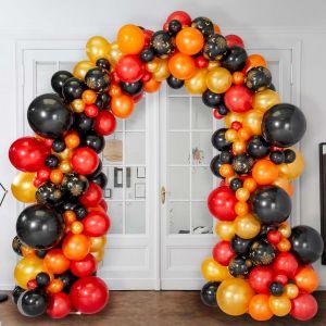 Гирлянда из разных шаров на стойке Хеллоуин Черный Красный Золото 6 метров