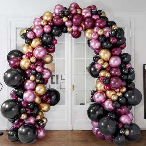 Гирлянда из разных шаров на стойке Хеллоуин бордо и золото хром 6 метров