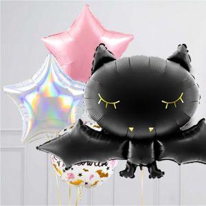 Связка из воздушных шаров на Хеллоуин Гламур Летучая мышь Звезды