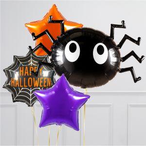 Связка из воздушных шаров на Хеллоуин Паук со Звездами