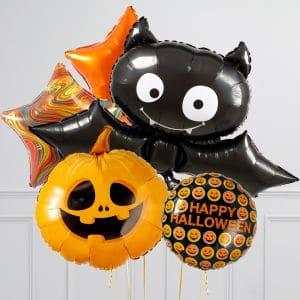 Связка из воздушных шаров на Хеллоуин Тыква Звезды и Летучая мышь
