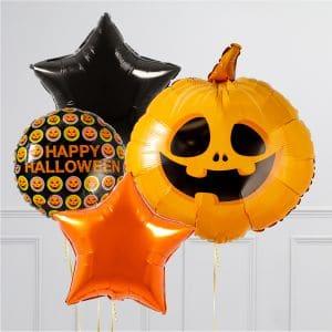 Связка из воздушных шаров на Хеллоуин Тыква со Звездами и Шары на пол