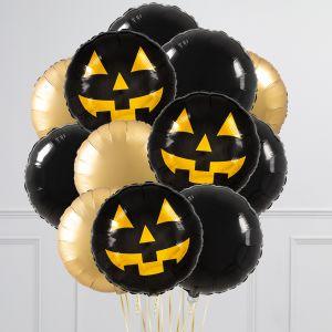 Связка из 12 воздушных шаров на Хеллоуин Круги с тыквой Черный и Золото
