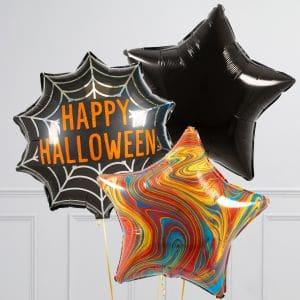 Связка из 3 воздушных шаров на Хеллоуин Звезды Оранжевый Мраморр Черный