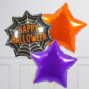 Связка из 3 воздушных шаров на Хеллоуин Звезды Оранжевый Фиолетовый