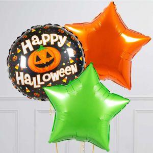 Связка из 3 воздушных шаров на Хеллоуин Звезды и Круг с тыквой Оранжевый Лайм