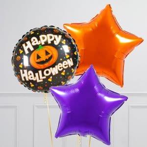 Связка из 3 воздушных шаров на Хеллоуин Звезды и Круг с тыквой Оранжевый Фиолетовый