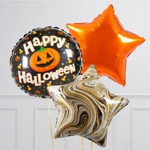 Связка из 3 воздушных шаров на Хеллоуин Звезды и Круг с тыквой Оранжевый Черный мрамор