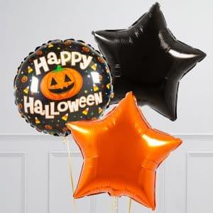 Связка из 3 воздушных шаров на Хеллоуин Звезды и Круг с тыквой Оранжевый Черный