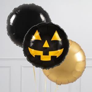 Связка из 3 воздушных шаров на Хеллоуин Круги с тыквой Черный и Золото