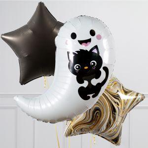 Связка из 3 шаров Привидение с котенком и Звезды