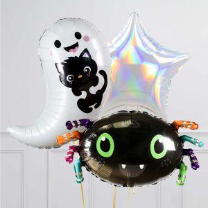 Связка из 3 шаров Привидение с котенком и Паук