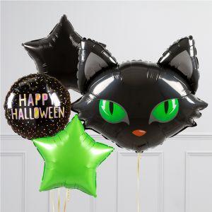 Связка из 4 воздушных шаров на Хеллоуин Звезды и Голова кота черная