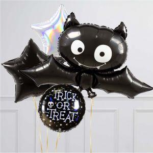 Связка из 4 воздушных шаров на Хеллоуин Звезды и Летучая мышь
