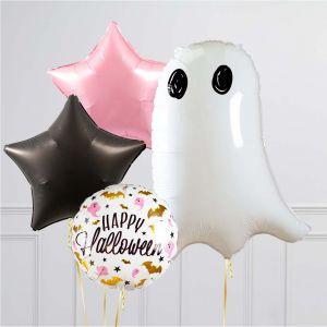 Связка из 4 воздушных шаров на Хеллоуин Звезды и Приведение Черный Розовый Белый