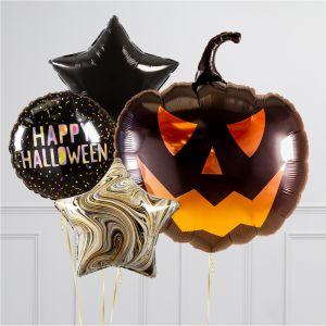 Связка из 4 воздушных шаров на Хеллоуин Звезды и Тыква Джека черная