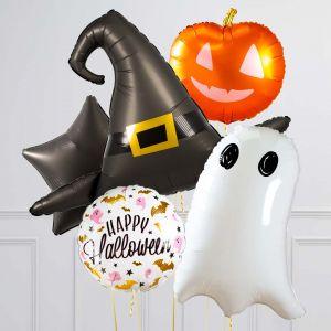 Связка из 5 шаров на Хеллоуин Приведение Шляпа и Тыква