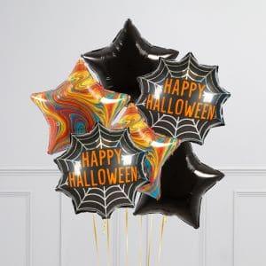 Связка из 6 воздушных шаров на Хеллоуин Звезды Оранжевый Мраморр Черный