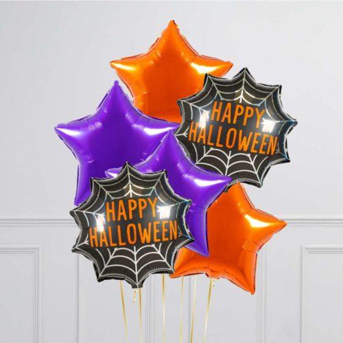 Связка из 6 воздушных шаров на Хеллоуин Звезды Оранжевый Фиолетовый